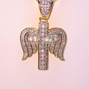 "Jewelry - Icy Cross Angel Pendant + 18"" Cuban Chain"